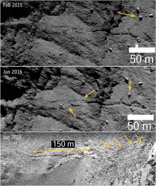 Ruch skał i powiększające się pęknięcie na komecie 67P/Czuriumow-Gierasimienko (ESA)
