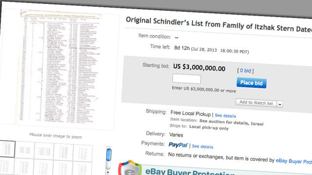 Lista Schindlera na aukcji. Na razie brak chętnych