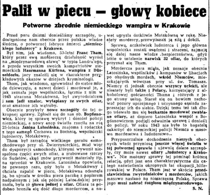 """Palił w piecu kobiece głowy - donosił """"Dziennik Polski"""""""