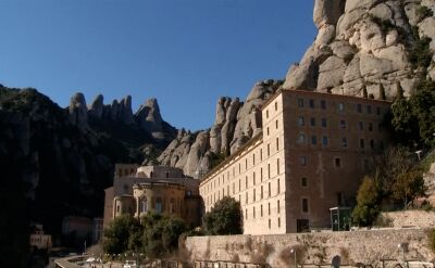 Protest pod kompleksem klasztornym w Montserrat