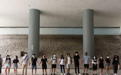 Uczniowie hongkońskich szkół utworzyli żywy łańcuch