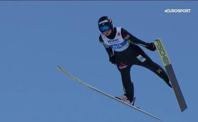Skok Maren Lundby z konkursu drużynowego podczas MŚ w Seefeld