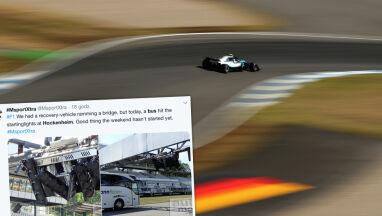 Dach autobusu z kibicami wbił się w światła startowe na torze Formuły 1