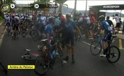 Duża kraksa na trzy kilometry przed metą 1. etapu Tour de France