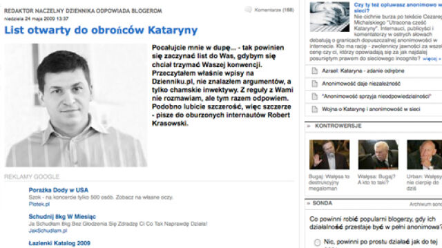"""Naczelny """"Dziennika"""" miesza internautów z błotem"""
