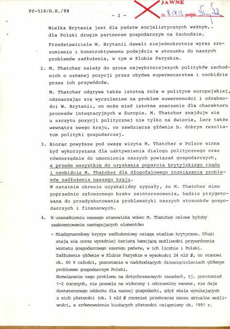 Notatka informacyjna dotycząca wykorzystania wizyty w Polsce Premier Wielkiej Brytanii M. Thatcher w sprawie programu długofalowego rozwiązania polskiego zadłużenia, 8 października 1988 r., str.2