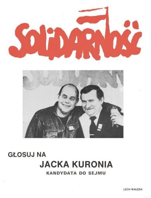 Plakat Jacka Kuronia z Lechem Wałęsą