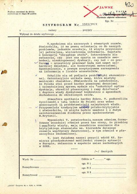 Szyfrogram ambasadora PRL w Londynie Zbigniewa Gertycha o rozmowie z premier Thatcher w sprawie planowanej wizyty, 27 października 1988 r., strona 2 (AMSZ).