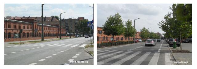 Obie strony ulicy pomiędzy ul. Ułańską a ul. Matejki obsadzono drzewam