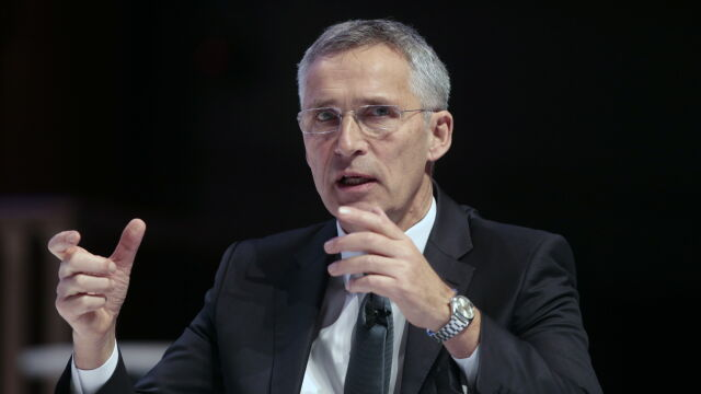 NATO Secretary General Jens Stoltenberg speaks during the Nato Engages conference