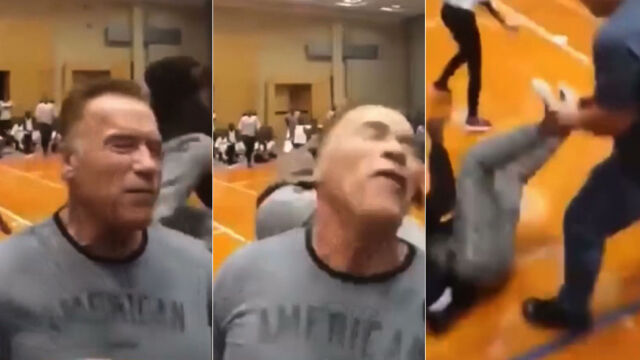 Schwarzenegger zaatakowany od tyłu. Napastnik i tak się od niego odbił