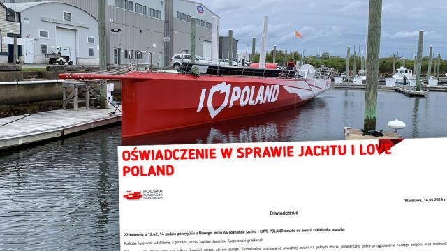 Jacht I love Poland uszkodzony.  Polska Fundacja Narodowa zabiera głos