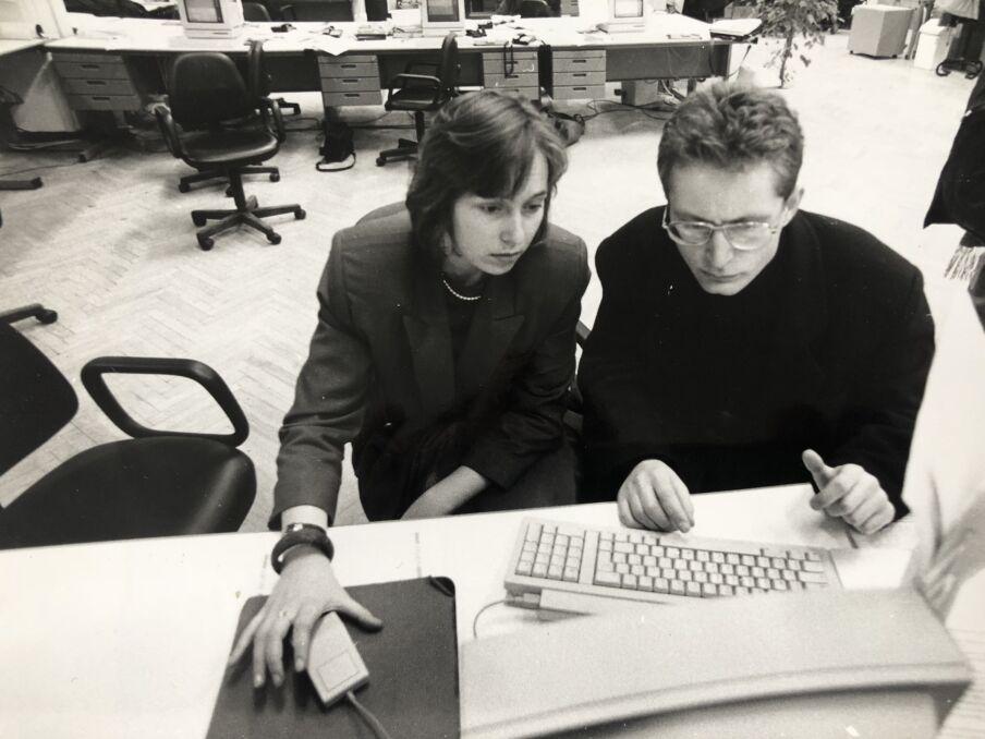 Z Ingą Rosińską podczas pracy nad książką, 1993 r.