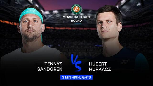 Skrót meczu Sandgren - Hurkacz w 1. rundzie Roland Garros