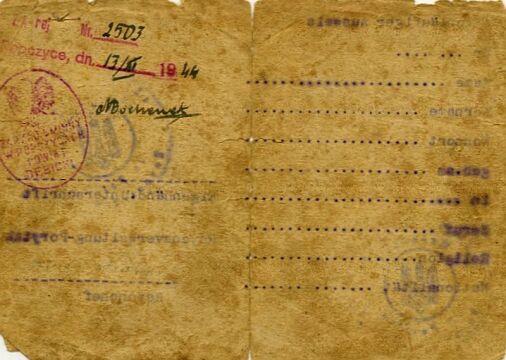 Ausweis Józefa Filipowicza zamieszkałego w Porycku (Pawliwce), wystawiony 1 II 1943 r. W marcu 1944 r. dokument potwierdzony w Ropczycach w powiecie dębickim. Zbiory Piotra Filipowicza