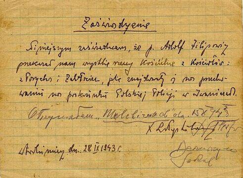 Zaświadczenie, z IX 1943 r., o przekazaniu przez Adolfa Filipowicza rzeczy z kościołów w Porycku i Zabłociu przechowywanych na posterunku Polskiej Policji w Iwaniczach. Zbiory Piotra Filipowicza