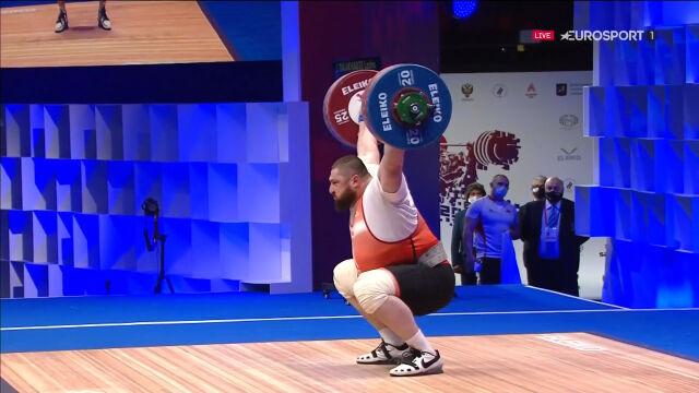 Talachadze z rekordem świata w rwaniu w kategorii powyżej 109 kg w ME