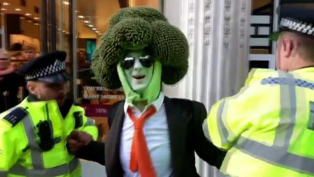Protestowałw stroju brokuła, zostałzatrzymany