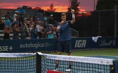 Ostatnia piłka meczu Hurkacz - Tsitsipas w drugiej rundzie turnieju ATP w Montrealu