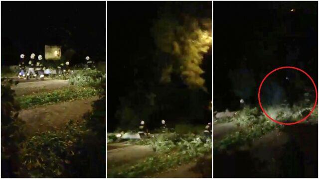 Strażak walczył z orkanem, przygniotło go drzewo. Widać to na nagraniu