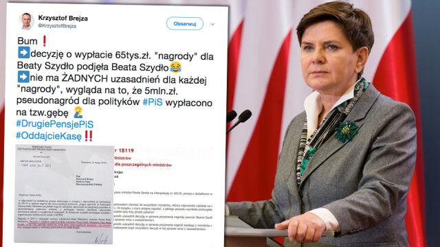 Premie dla ministrów rządu Szydło