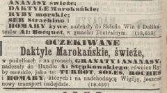 Reklamy z XIX wiecznej prasy warszawskiej. Okres Świąt był czasem żniw dla restauratorów i sprzedawców importowanych produktów spożywczych
