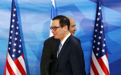 Steven Mnuchin na spotkaniu z Benjaminem Netanjahu w Izraelu