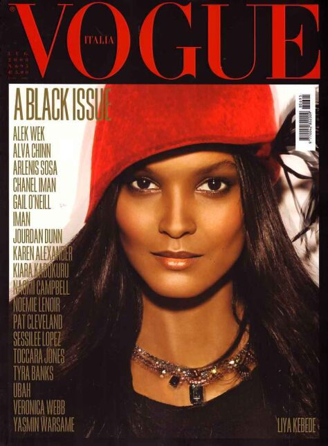"""All Black Issue"", lipiec 2008, ""Vogue Italia"" - Liya Kebede"