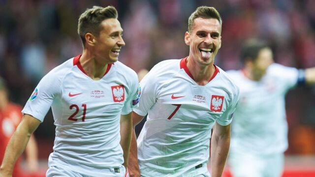 Przemysław Frankowski (left) and Arek Milik both came onto the pitch in the second half and both scored to send Poland to Euro 2020