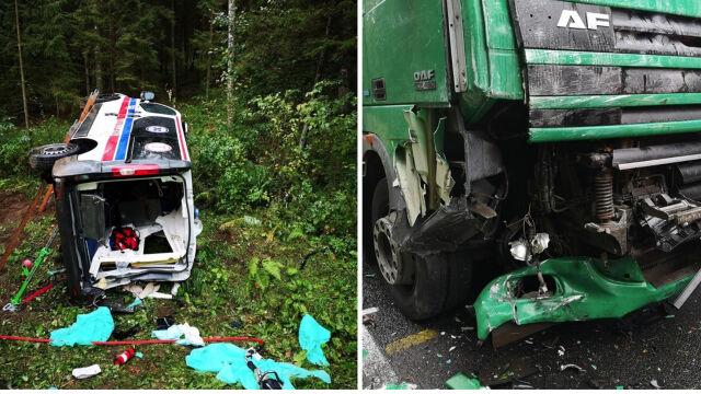 Karetka zderzyła się z ciężarówką. Pacjentka zmarła, dwie osoby ranne