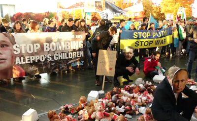 Demonstracja w Berlinie przed przyjazdem Władimira Putina