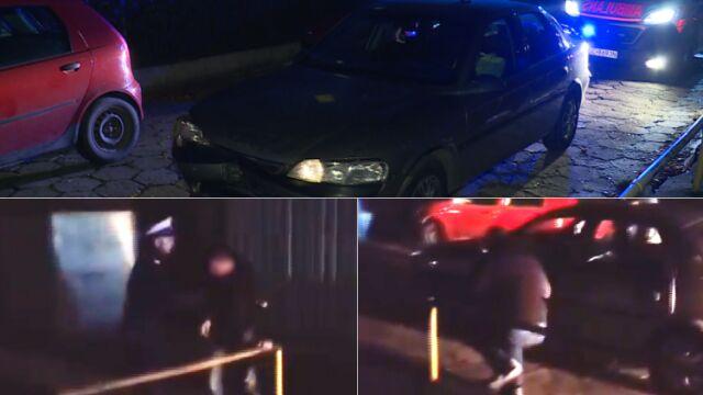 Szarpał ratowników i policjantów, ledwo trzymał się na nogach. Wcześniej staranował samochodem kobietę