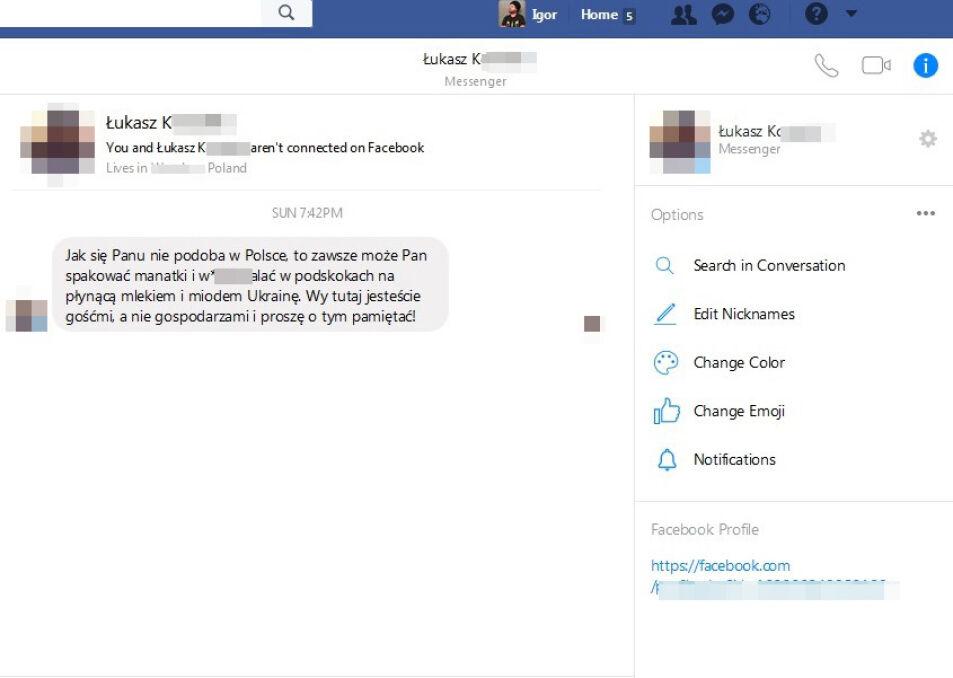 Wiadomość prywatna z mediów społecznościowych