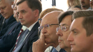 Prezes TSUE i Ziobro siedzieli niemal obok siebie.