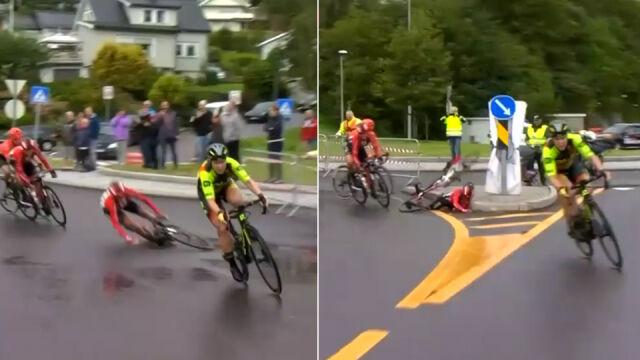 Uderzyła w krawężnik, przygniótł ją rower, a potem rywalka. Seria nieszczęść francuskiej kolarki