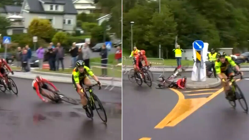 Uderzyła w krawężnik, przygniótł ją rower, a potem jeszcze rywalka