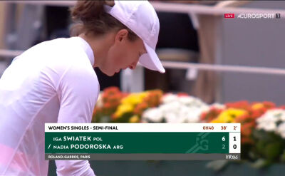 Świątek świetnie rozpoczęła również drugi set półfinału Roland Garros