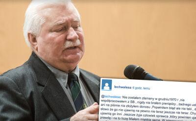 Wałęsa odpowiada wpisem na mikroblogu