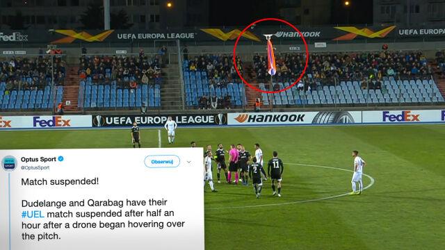 Latający dron z flagą. Przerwany mecz Ligi Europy