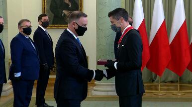 Robert Lewandowski odznaczony przez prezydenta Andrzeja Dudę.