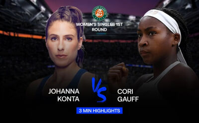Skrót meczu Konta - Gauff w 1. rundzie Roland Garros