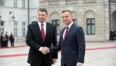Andrzej Duda wita prezydenta Łotwy