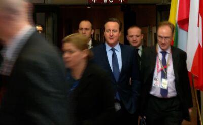 David Cameron opuszczający siedzibę ambasady Wielkiej Brytanii w Brukseli