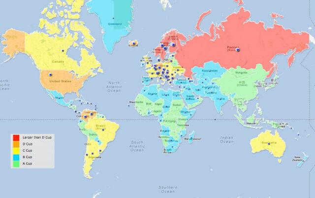 Kraje największych biustów