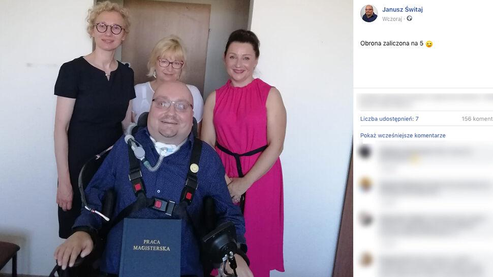 12 lat temu prosił o eutanazję. Teraz został magistrem