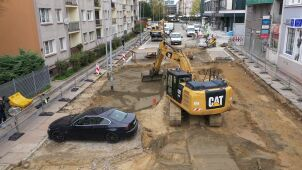 Construction work leaves car trapped on a street in Szczecin