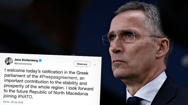 """Stoltenberg """"czeka z niecierpliwością"""" na Republikę Macedonii Północnej w NATO"""