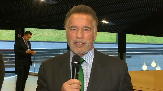 Famous actor and former Governor of California Arnold Schwarzenegger in an exclusive interview for TVN24 BIS