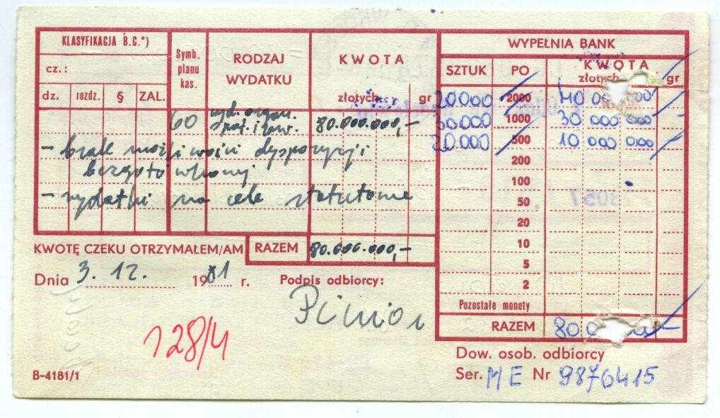 Rewers czeku na 80 milionów złotych wypełniony przez Józefa Piniora