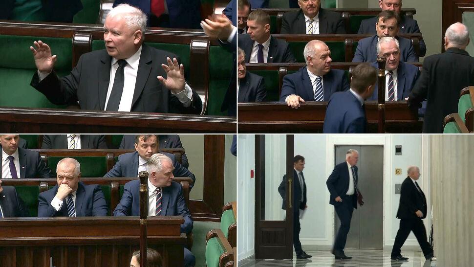 Schetyna zaczął mówić, Kaczyński wyszedł. Zabrał ze sobą Gowina i Ziobrę